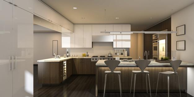 Hvidt og brunt køkken
